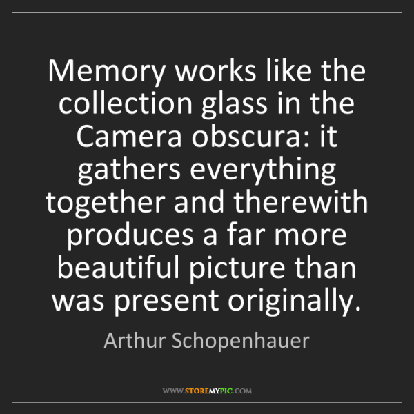 Arthur Schopenhauer: Memory works like the collection glass in the Camera...
