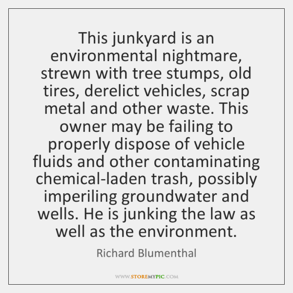 This junkyard is an environmental nightmare, strewn with tree stumps, old tires, ...