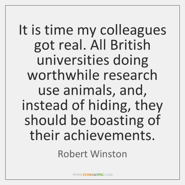 It is time my colleagues got real. All British universities doing worthwhile ...