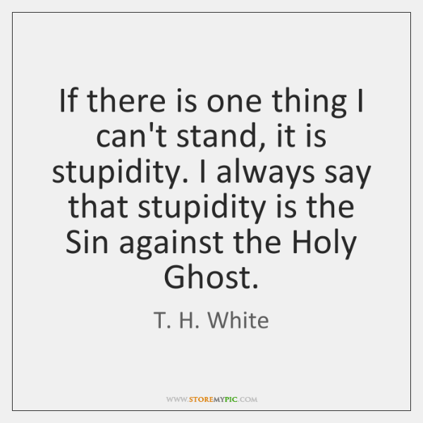 If there is one thing I can't stand, it is stupidity. I ...