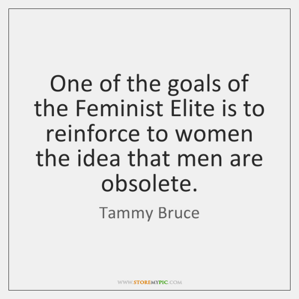 One of the goals of the Feminist Elite is to reinforce to ...