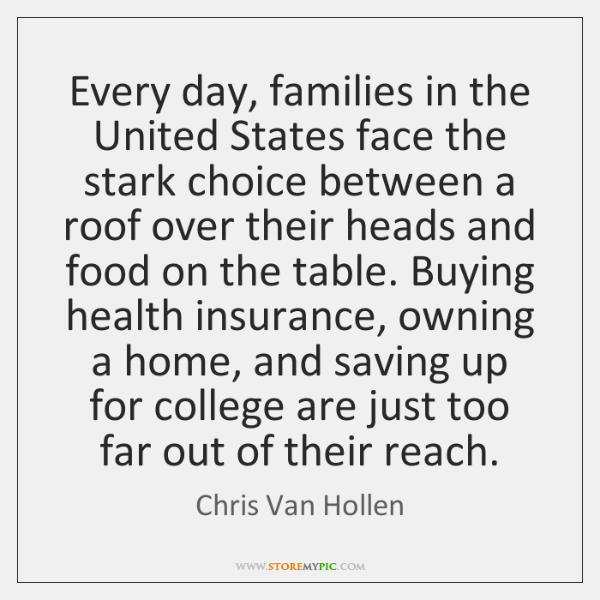 Every day, families in the United States face the stark choice between ...