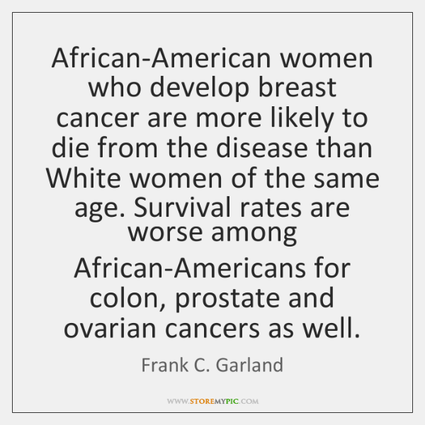 African-American women who develop breast cancer are more likely to die from ...