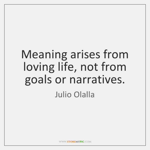 Meaning arises from loving life, not from goals or narratives.