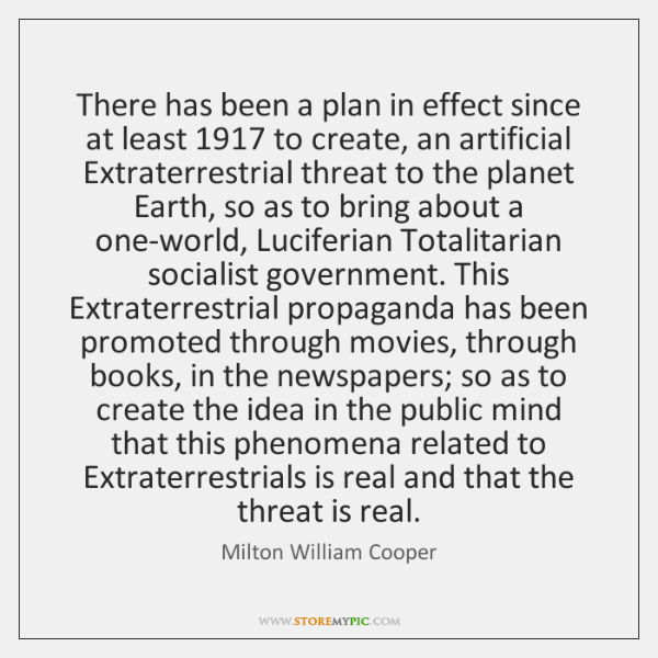 There has been a plan in effect since at least 1917 to create, ...