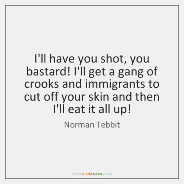 I'll have you shot, you bastard! I'll get a gang of crooks ...