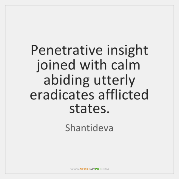 Penetrative insight joined with calm abiding utterly eradicates afflicted states.