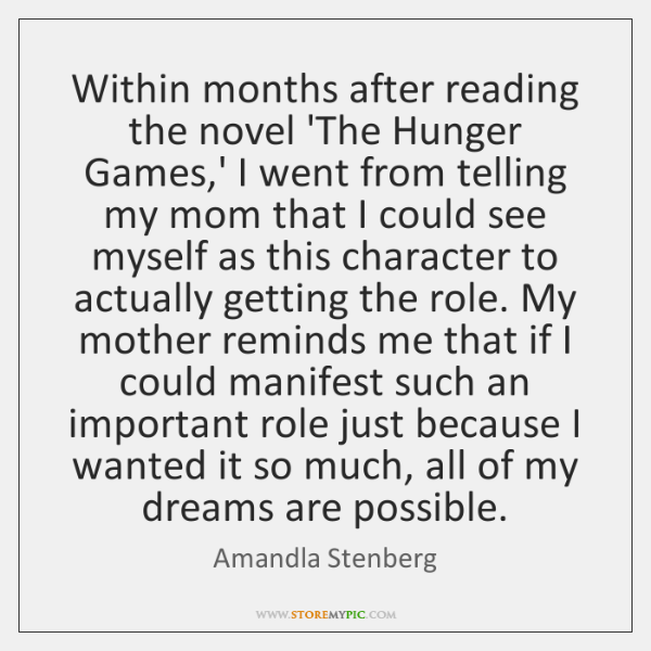 Within months after reading the novel 'The Hunger Games,' I went ...