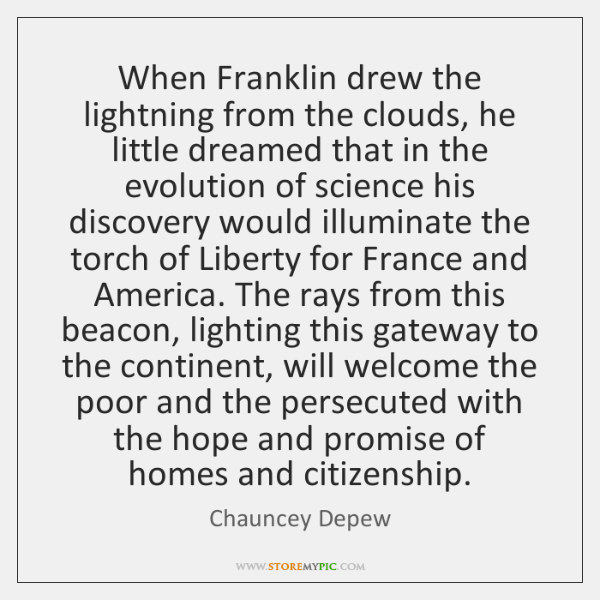 When Franklin drew the lightning from the clouds, he little dreamed that ...