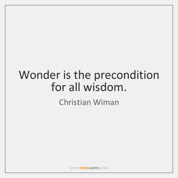 Wonder is the precondition for all wisdom.