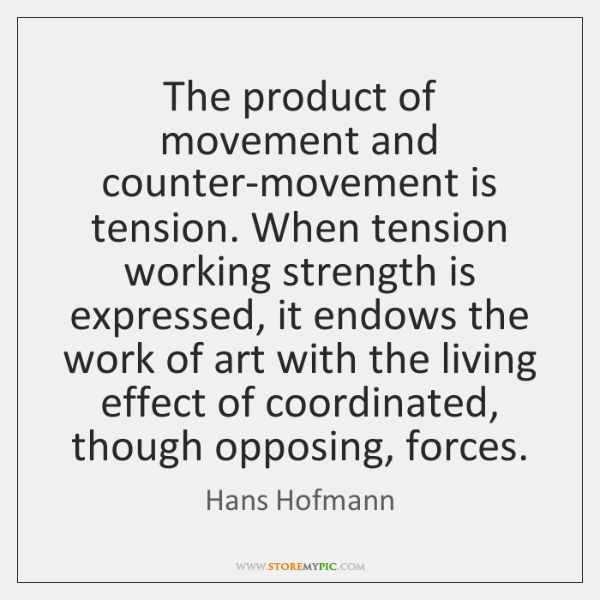 The product of movement and counter-movement is tension. When tension working strength ...