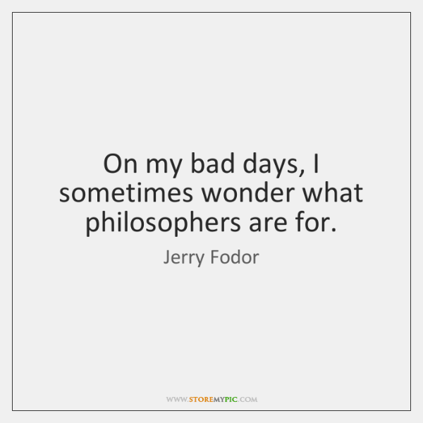 On my bad days, I sometimes wonder what philosophers are for.