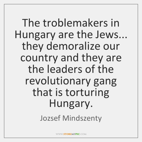 The troblemakers in Hungary are the Jews... they demoralize our country and ...