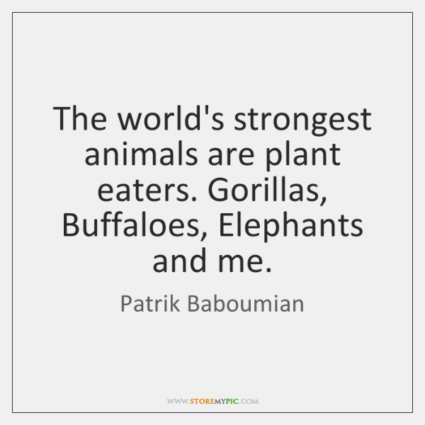 The world's strongest animals are plant eaters. Gorillas, Buffaloes, Elephants and me.