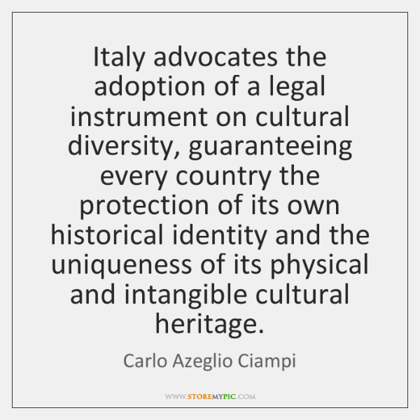 Italy advocates the adoption of a legal instrument on cultural diversity, guaranteeing ...