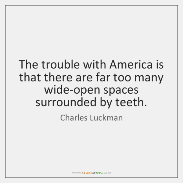 The trouble with America is that there are far too many wide-open ...