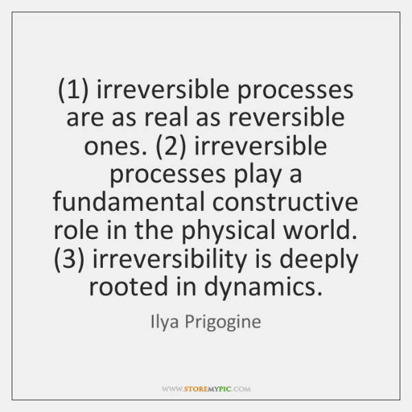 (1) irreversible processes are as real as reversible ones. (2) irreversible processes play a ...