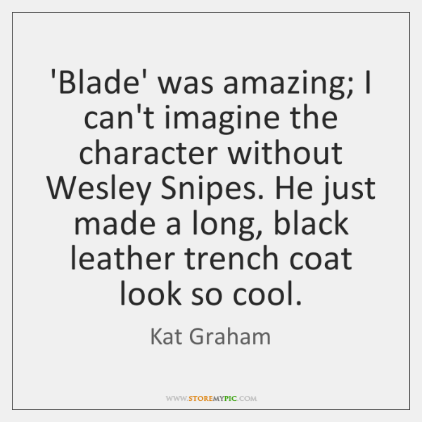 'Blade' was amazing; I can't imagine the character without Wesley Snipes. He ...