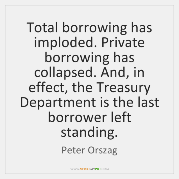 Total borrowing has imploded. Private borrowing has collapsed. And, in effect, the ...