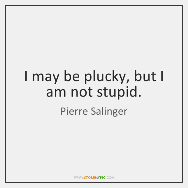 I may be plucky, but I am not stupid.