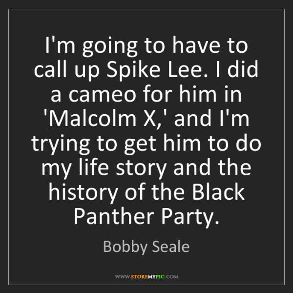 Bobby Seale: I'm going to have to call up Spike Lee. I did a cameo...
