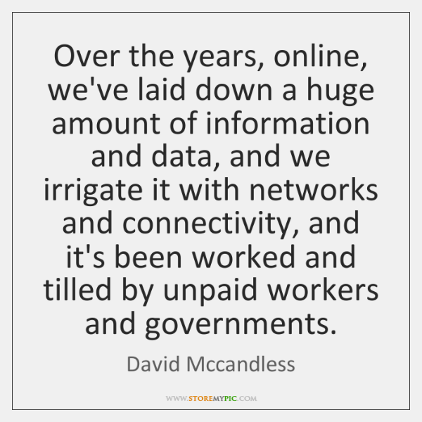 Over the years, online, we've laid down a huge amount of information ...