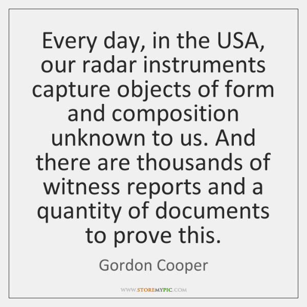 Every day, in the USA, our radar instruments capture objects of form ...