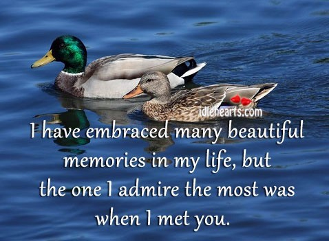 I have embraced many beautiful memories in
