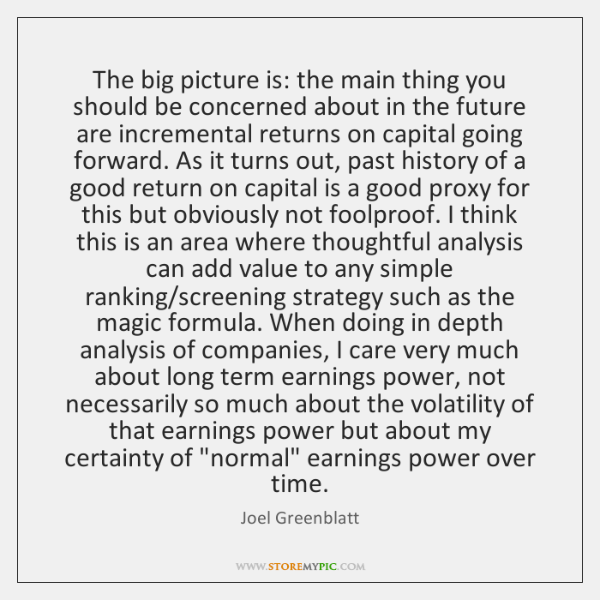 The big picture is: the main thing you should be concerned about ...