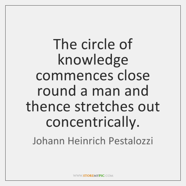 The circle of knowledge commences close round a man and thence stretches ...
