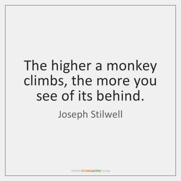 The higher a monkey climbs, the more you see of its behind.