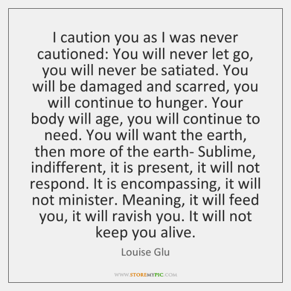 I caution you as I was never cautioned: You will never let ...