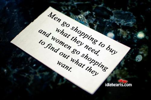 Men go shopping to buy