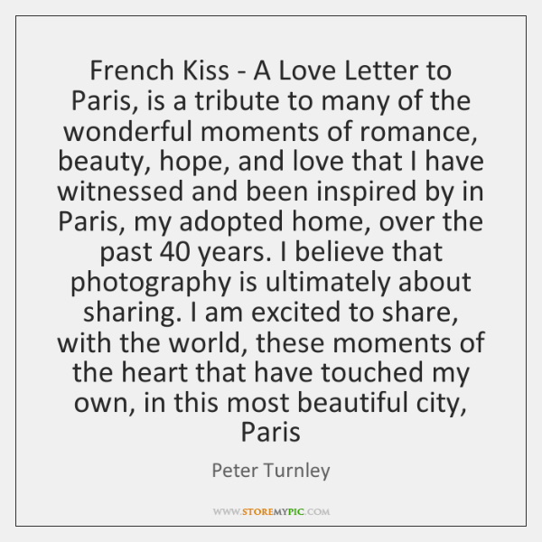 French Kiss - A Love Letter to Paris, is a tribute to ...