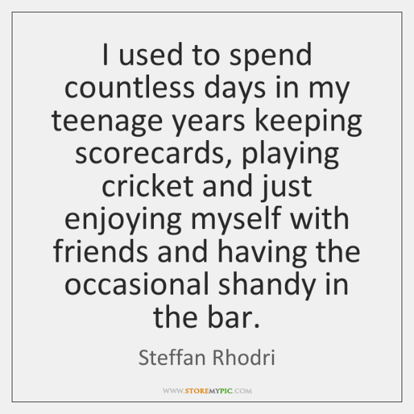 I used to spend countless days in my teenage years keeping scorecards, ...