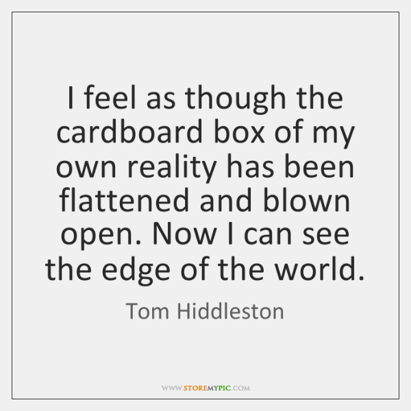 I feel as though the cardboard box of my own reality has ...