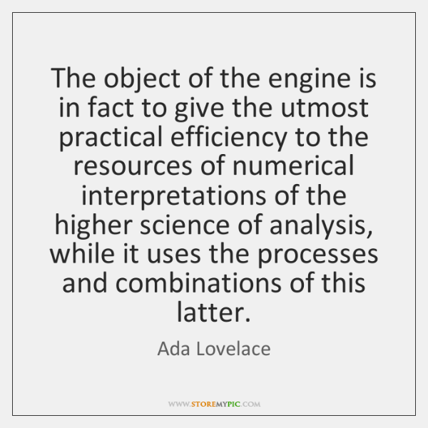 The object of the engine is in fact to give the utmost ...