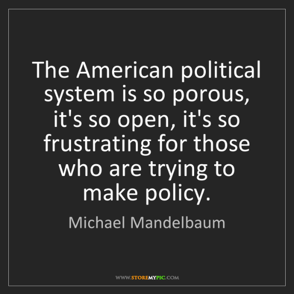 Michael Mandelbaum: The American political system is so porous, it's so open,...