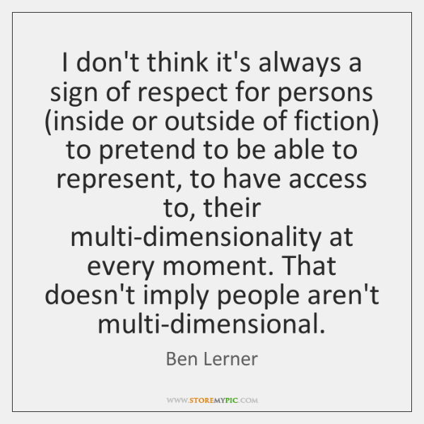I don't think it's always a sign of respect for persons (inside ...