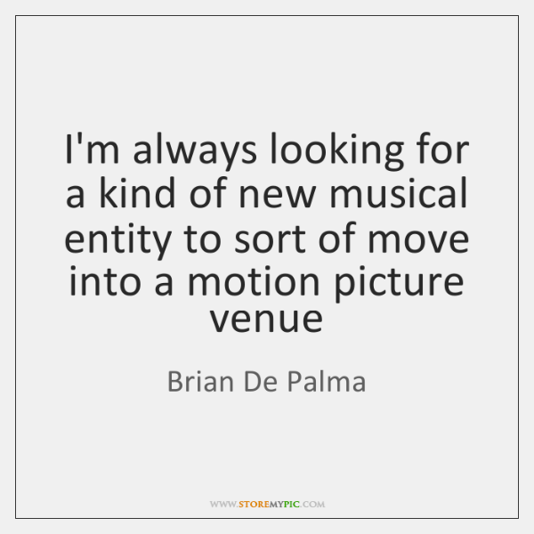 I'm always looking for a kind of new musical entity to sort ...