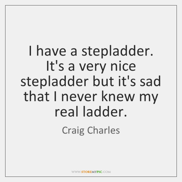 I have a stepladder. It's a very nice stepladder but it's sad ...