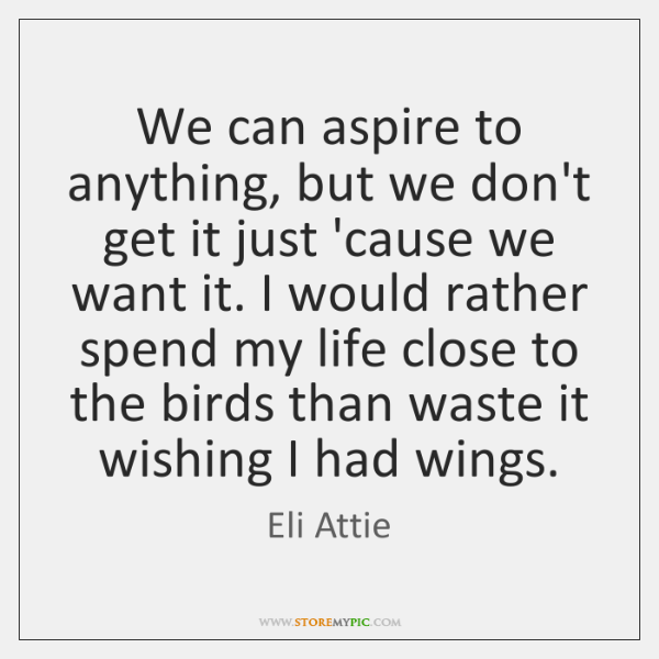 We can aspire to anything, but we don't get it just 'cause ...