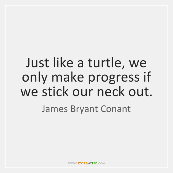 Just like a turtle, we only make progress if we stick our ...