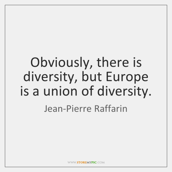 Obviously, there is diversity, but Europe is a union of diversity.