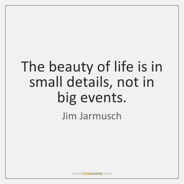 The beauty of life is in small details, not in big events.