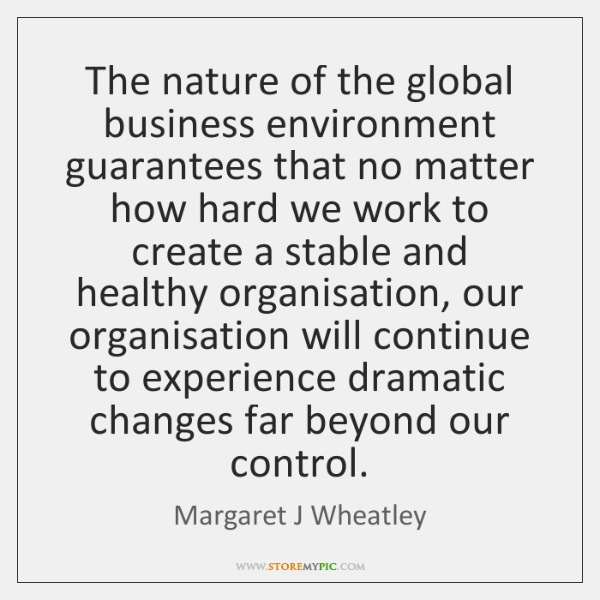 The nature of the global business environment guarantees that no matter how ...