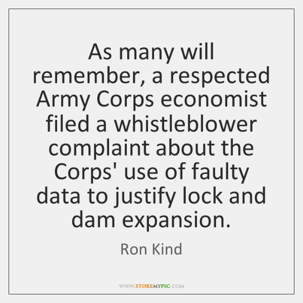 As many will remember, a respected Army Corps economist filed a whistleblower ...