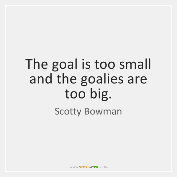 The goal is too small and the goalies are too big.