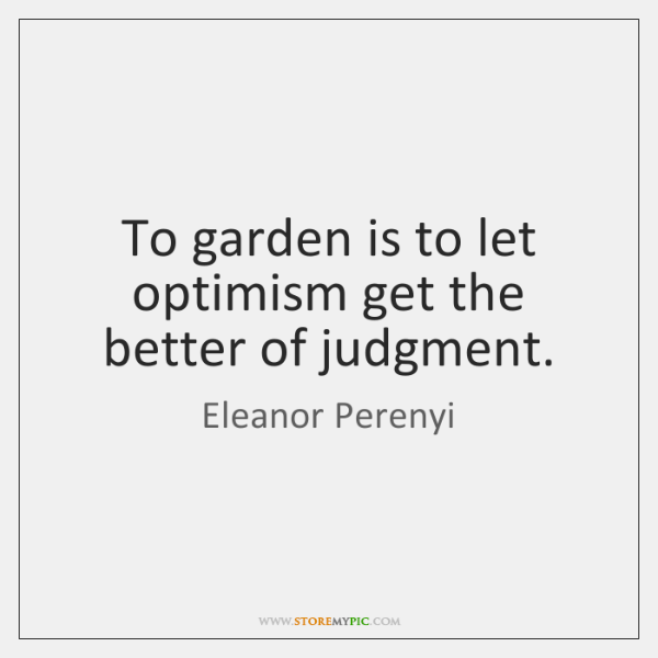 To garden is to let optimism get the better of judgment.
