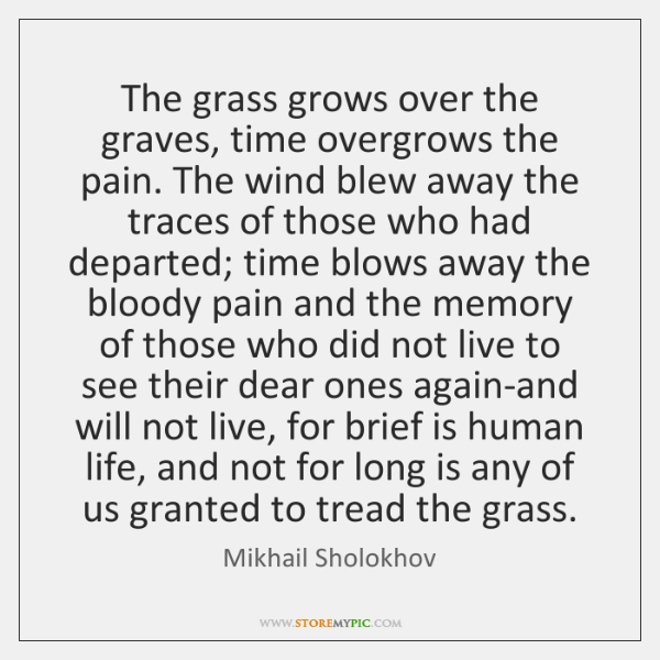 The grass grows over the graves, time overgrows the pain. The wind ...